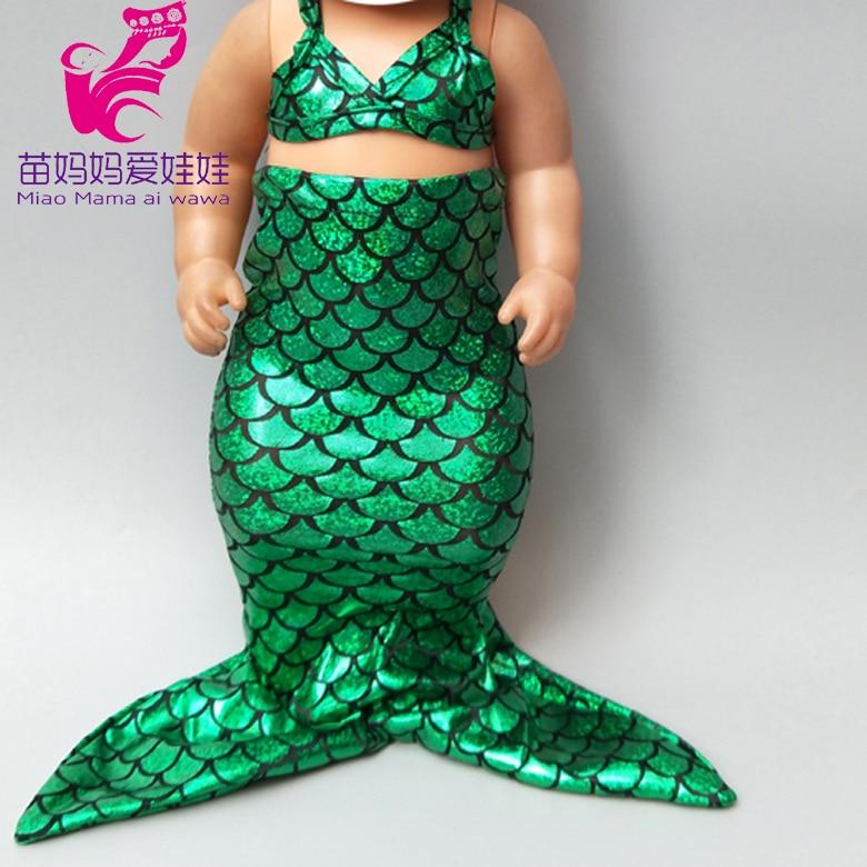 Doll Clothes For 43cm Baby Doll Mermaid Bikini Dress 18 Inch Doll Mermaid Princess Dress