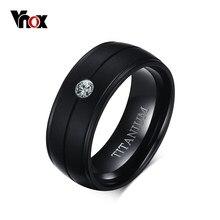 VNOX – bague noire en titane pur pour hommes, anneaux de mariage mats avec pierre CZ, vente en gros, 8mm
