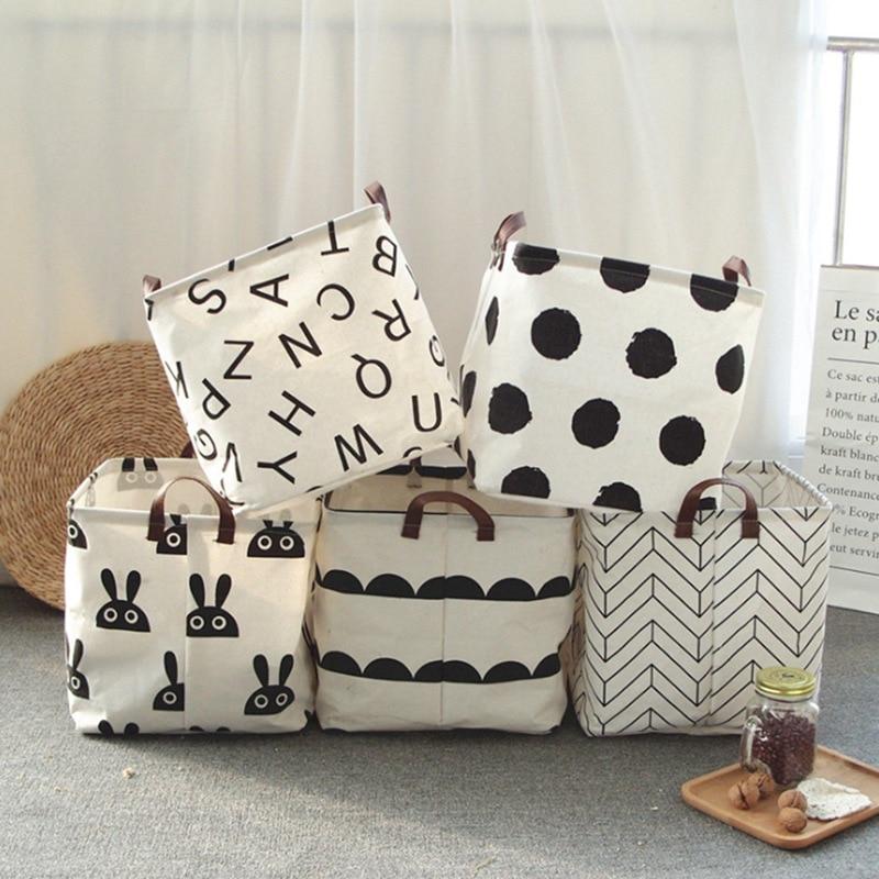 Nordic Style Cloth Art Storage Basket Japanese Style Simple Storage Basket Portable Travel Organizer Home Storage Organization