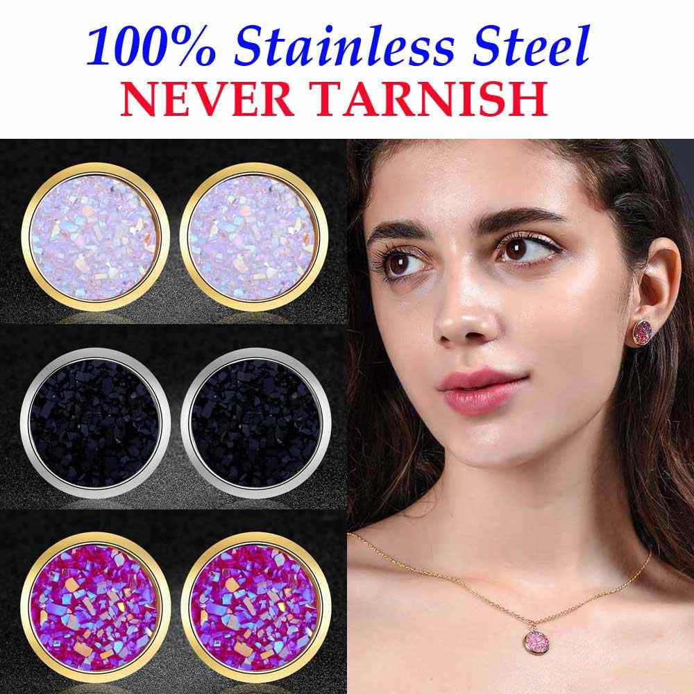AAAAA Quality 100% Stainless Steel Shinning Resin Stud Earring for Women Wedding Party Ear Studs Jewelry