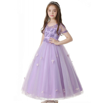 Purple princess skirt short sleeve performance clothing 2020 new children's catwalk dress