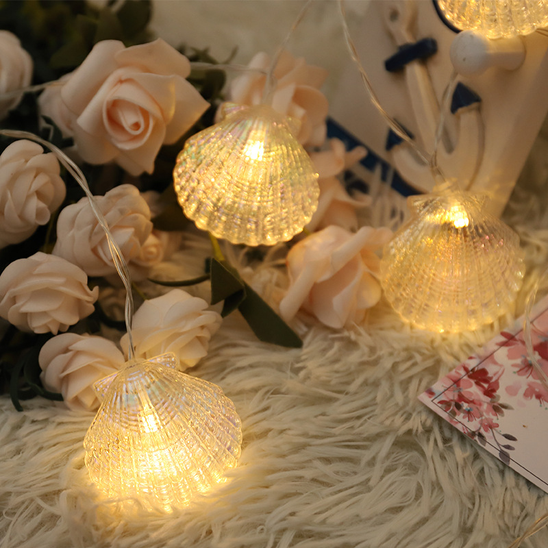 6M 40LED  Sea Shell String Fairy Light Handmade Indoor Outdoor Christmas Garlands For Wedding Garden Party Holiday Decoration