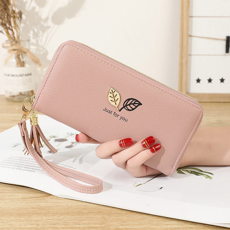 Simple style wallet for women large capacity leather women purses leaf print woman wallet 8 colors long card holder female