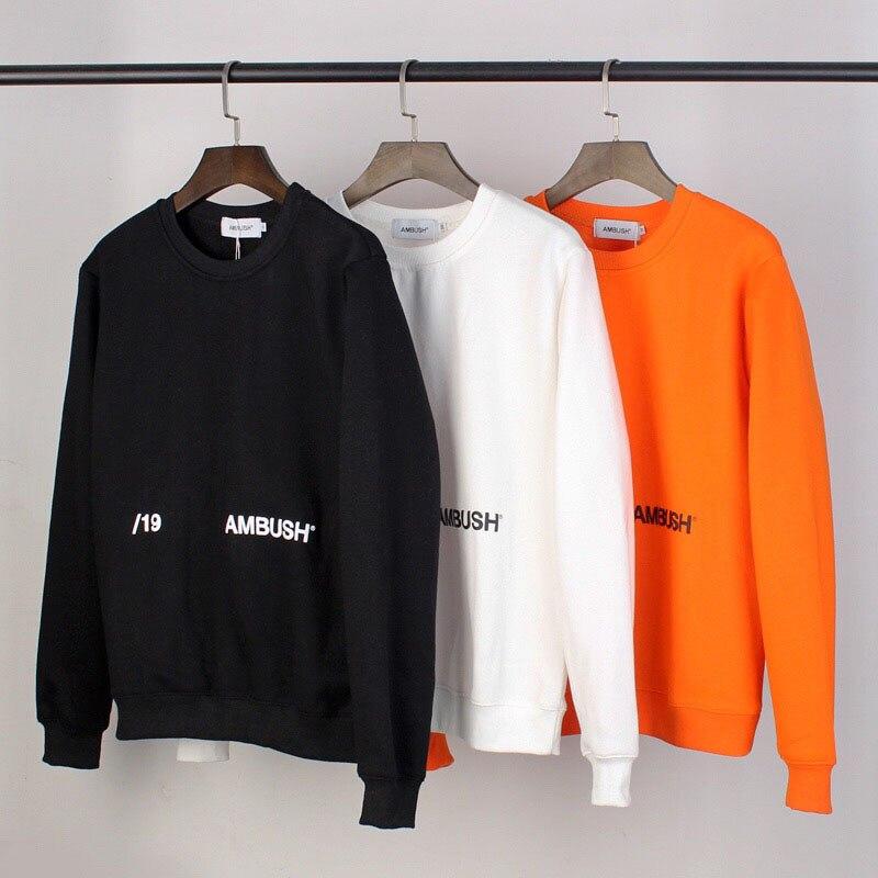 Hot Sale 2019 New AMBUSH CREW NECK SWEAT SHIRT Men Women Solid Color 3D Foam Printed Sweatshirts Oversized Cotton Pullovers