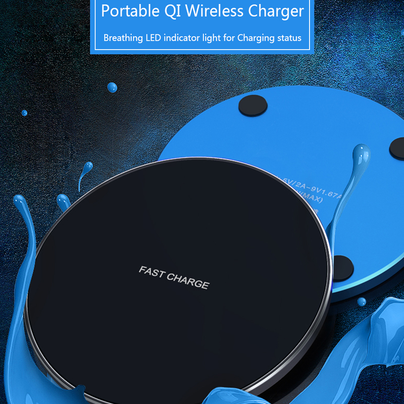 Qi wireless fast charger ultra-thin metal pad 10W wireless fast charger for iPhone11 Xs Max Samsung S8 S9 Note8 9 adapter