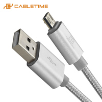Cabletime Nylon Micro USB Cable 5Pin USB Cable Fast Charging Data Cable For Xiaomi Samsung Huawei USB Cable Android C217