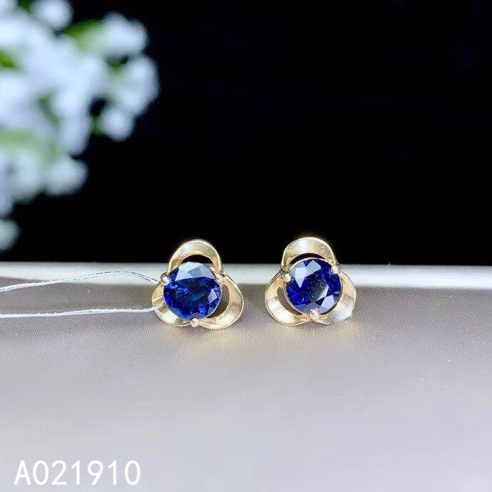 KJJEAXCMY boutique bijoux or 18K incrusté saphir naturel pierres précieuses femme mode boucles d'oreilles soutien détection à la mode