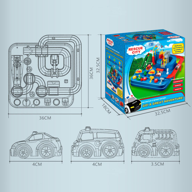 Manual Car Adventure Track Toys For Children Educational Rescue Vehicles Adventure Toys Parking Lot simulation Gift For Boy 5