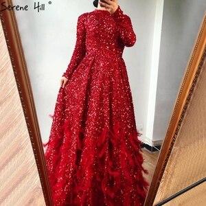 Image 5 - فساتين سهرة فاخرة على شكل حرف a مثيرة باللون الأحمر من دبي لعام 2020 فستان رسمي بأكمام طويلة مزين بالترتر الريش طراز Serene Hill HM67124