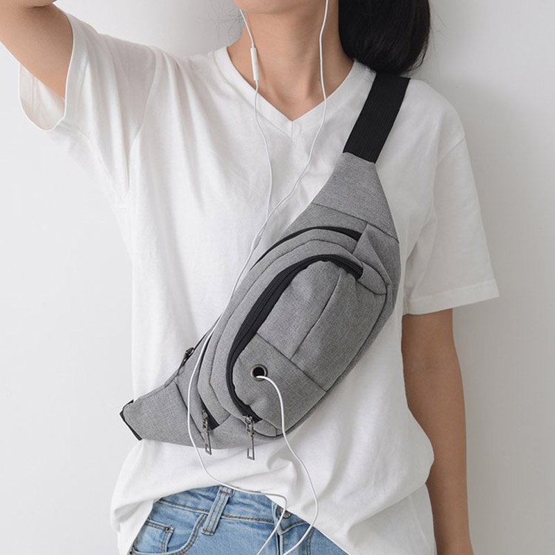 Solid Canvas Waist Bag Men Money Wallet Belt Bag Women Creative Fanny Packs With Headphone Hole Travel Crossbody Chest Pack Male