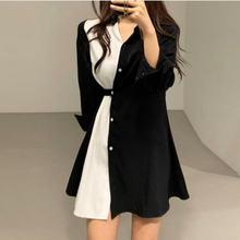 Женское облегающее платье рубашка в стиле пэчворк черное или