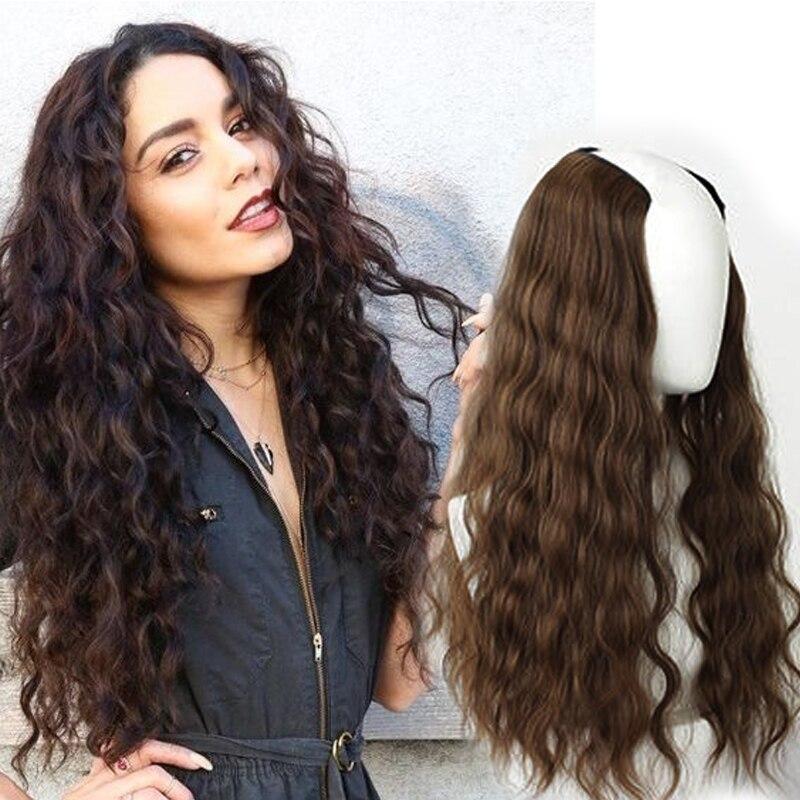 """22 """"longo ondulado culry v-shaped meia peruca para as mulheres preto marrom feminino perucas longas falsos grampos de cabelo em extensões de cabelo sintético"""