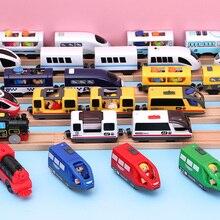 Детский Электрический поезд, игрушки, Магнитный слот, литье под давлением, электрическая железная дорога с двумя вагонами, деревянная игрушка, подходит для деревянных рельсов