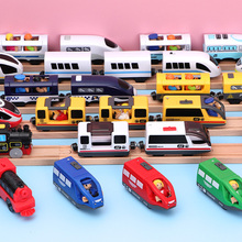 Kids Electric Train Toys Magnetic Slot Diecast Electric Railway with Two Carriages Train Wood Toy FIT T hmas Wooden Brio Tracks