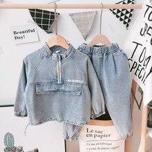 Boys Tracksuit Clothing-Sets Jeans Jacket Kids-Set Girl Baby Autumn Denim 2pcs Casual-Printing