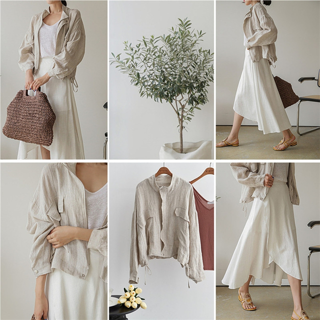 Colorfaith New 2021 Summer Autumn Women's Jacket Stand Collar Casual Pockets Cargo Cotton and Linen Zipper Short Tops JK8196 6