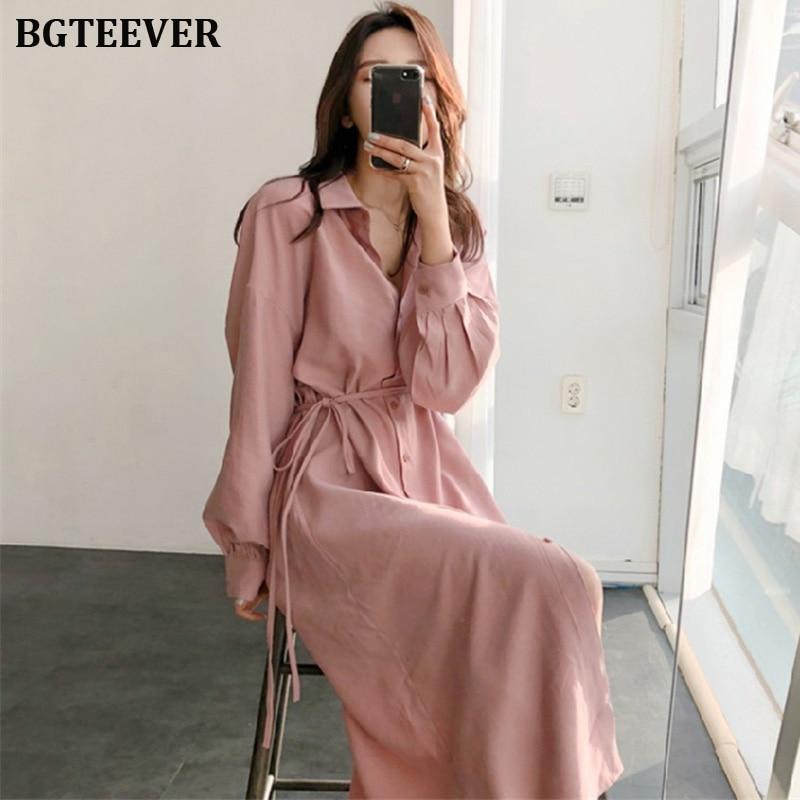 BGTEEVER элегантная женская рубашка с отложным воротником свободное кружевное платье однобортное женское платье 2019 Кружевное платье миди Vestidos femme|Платья|   | АлиЭкспресс