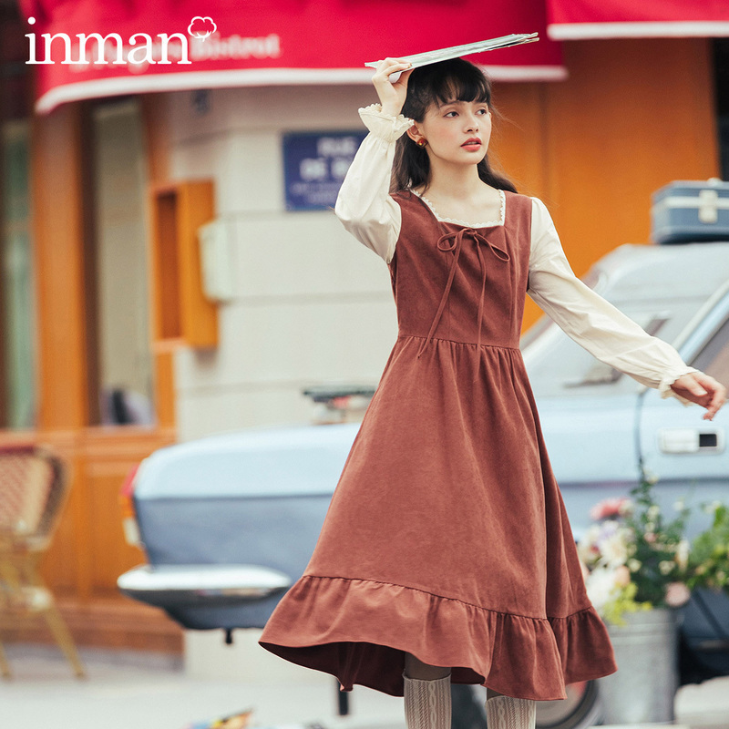 INMAN 2020 Autumn Winter New Arrival Sweet Lady Joint Style Square Collar Long Flare Sleeve Lotus Fringe A Line Dress