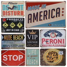 Get more info on the 30X20cm Metal Tin Signs Food Painting Plaques Home Decoration Art Poster Vintage Cafe Dog Sign Rock Beach Warning Wall Decor H77