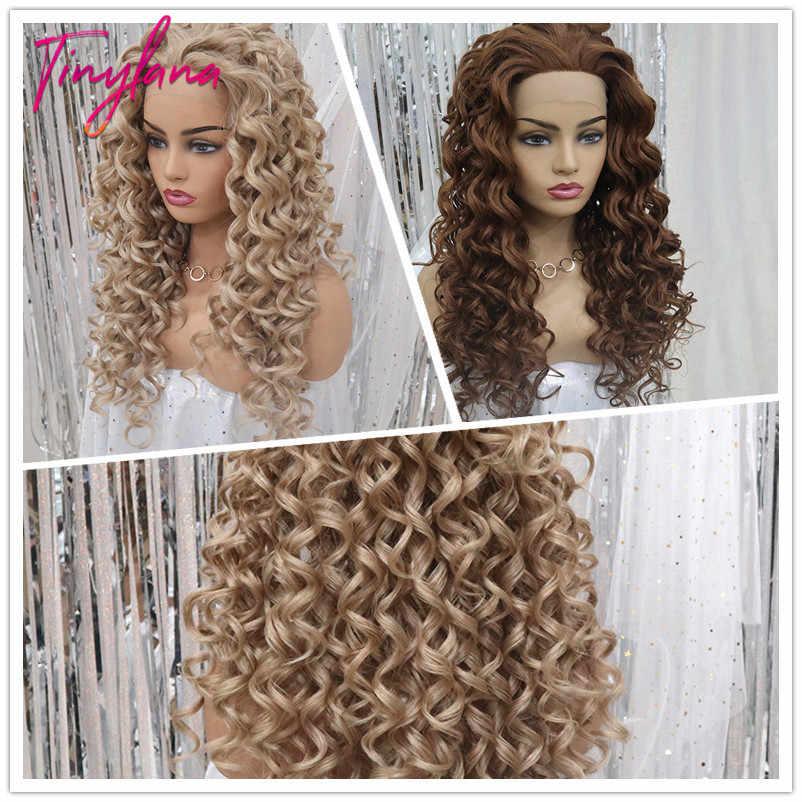 TINY LANA Brown blond kolor peruki z włosami kręconymi typu kinky dla białych kobiet syntetyczne afrykańskie puszyste włosy wysokiej temperatury włókna koronki przodu