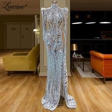 Robe De Soiree Kristallen Kralen Transparante Tule Avondjurken 2020 Couture Moslim Abiye Dubai Party Gown Vestidos Prom Jurk