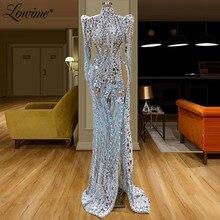 Áo Dây De Soiree Tinh Thể Chiếu Trúc Hạt Trong Suốt Voan Váy ĐầM Dạ 2020 Couture Hồi Giáo Abiye Dubai Đảng Bầu Vestidos Promise