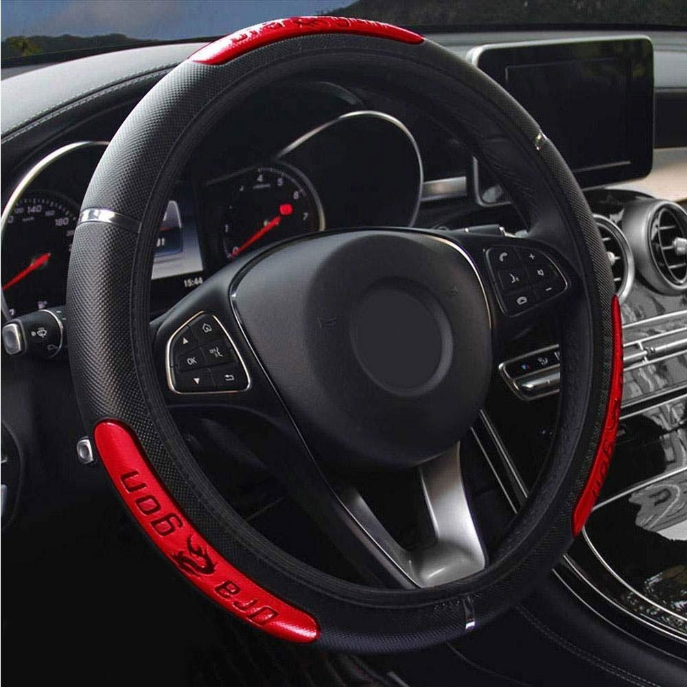 38cm Car Steering Wheel Cover Breathable Anti Slip Faux Leather Car Steering Wheel Cover Interior Decor Auto Decoration