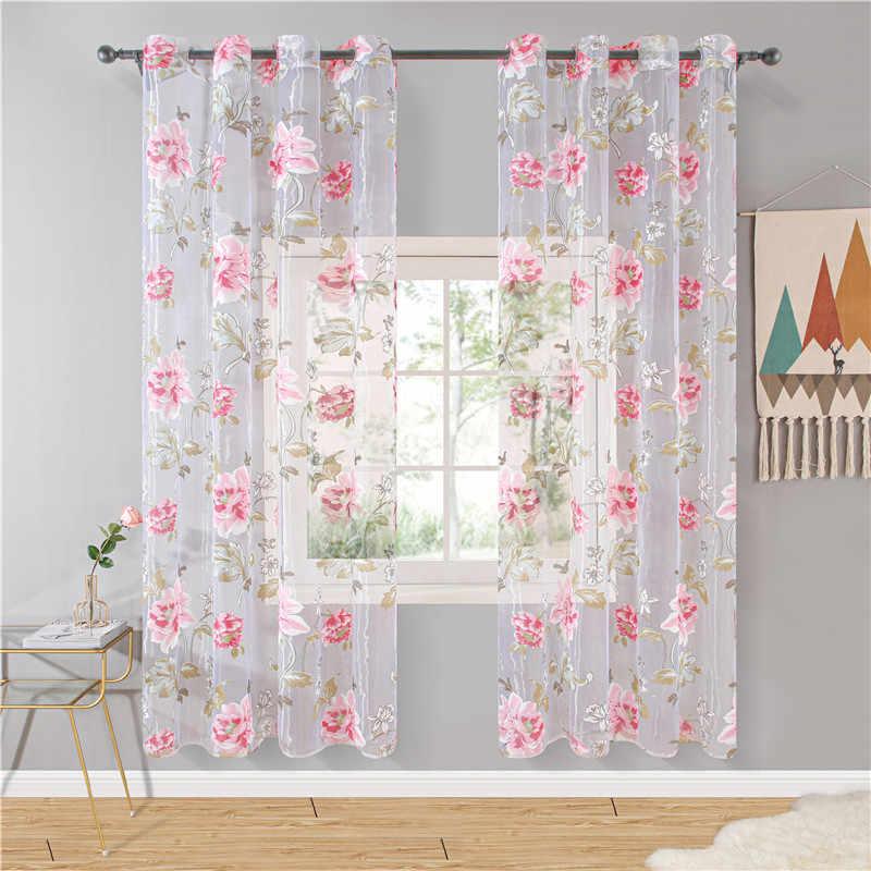 Topfinel viola floreale tulle in tende trasparenti per soggiorno camera da letto cucina ombra trattamento di finestra tende tenda pannello