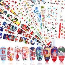 12pcs 매력 네일 아트 스티커 크리스마스 데칼 장식 전송 포일 눈송이 꽃 디자인 슬라이더 매니큐어 trbn/A 1