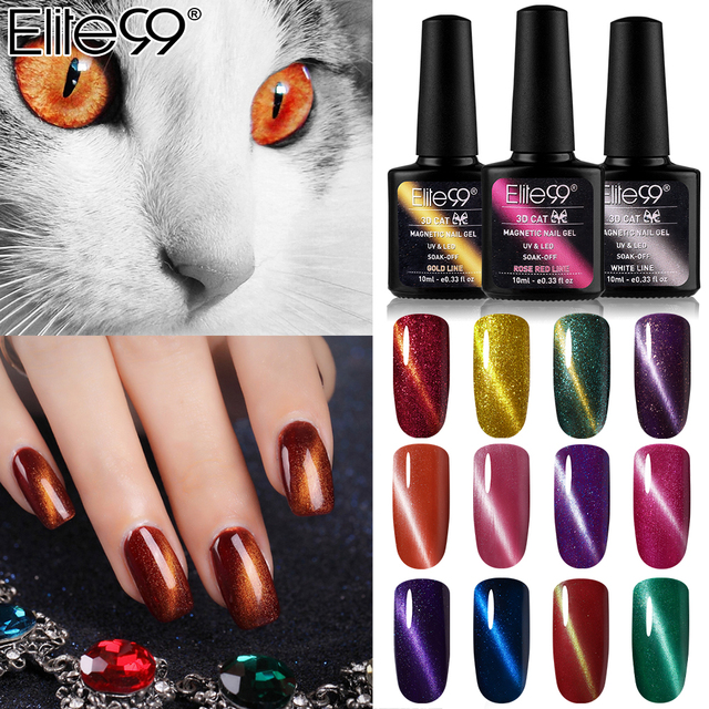 Elite99 10ml Fest Katze Auge Linie UV Gel Nagellack Magnetic 3D Katzenauge Gel Lack Semi Permanent emaille Nail Primer Top Basis