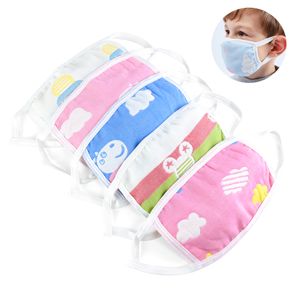 8/10 PCS Baby Protective Mask Cotton Gauze Masks Breathable Comfortable For Kids Children Layers Of Gauze Masks Dust-proof