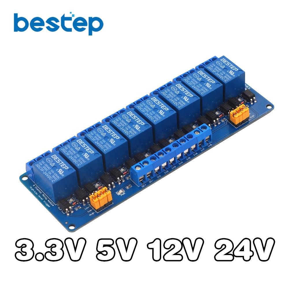 3.3V 5V <font><b>12V</b></font> <font><b>24V</b></font> 8 Channel Relay Module High and Low Level Trigger with Optocoupler Relay Output 8 way Relay Module for <font><b>Arduino</b></font> image