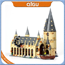 цена на Potter Movie Series 75954 Great Hall Castle Marvel Magic School Building Blocks Figures Boat Educational Compatible Bricks Toys