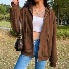 Casual Brown Plus Velvet Warm Hoodie For Girls Winter Clothes Women's Sweatshirt 2020 Harajuku Long Sleeve Zip Up Thicken Top