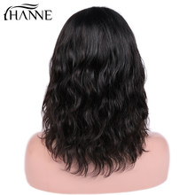 HANNE Short Bob Lace Front Wigs For Women Human Hair Natural Wave Indian Remy Natural Black/99j Pre Plucked Bleached Knots(China)