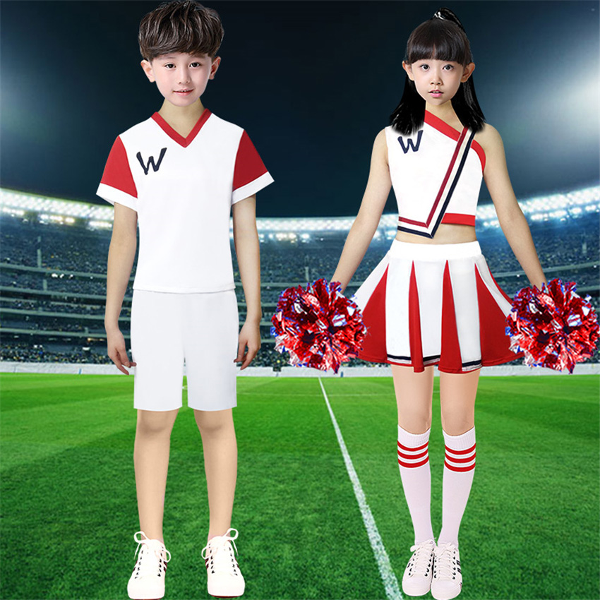 100-170cm Adult Women Cheerleader Costumes Stage Performance Dance Costumes Kids Girls Shoulder Off School Uniform Skirt