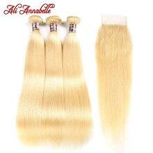 Ali Annabelle 613 sarışın demetleri ile kapatma düz insan saçı brezilyalı saç örgü demetleri ile kapatma Remy sarı saç