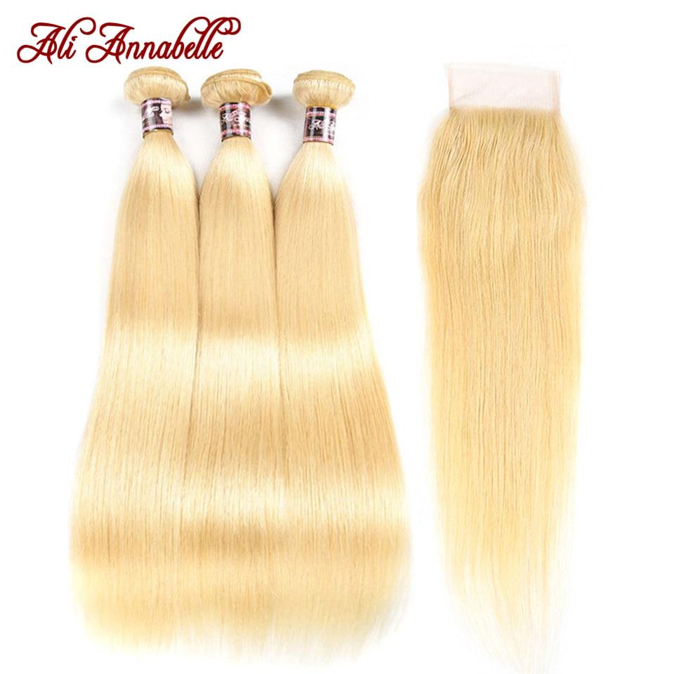 Ali annabelle 613 pacotes loira com fecho de cabelo humano em linha reta tecer cabelo brasileiro pacotes com fechamento remy cabelo loiro