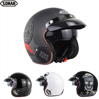 Soman Dot 3/4 máscara con máscara visera Retro media cara helicóptero cascos scooter de motocicleta capacete Vespa Casco Moto SM521