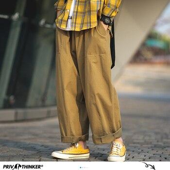 Privathinker Men Japanese Solid Straight Pants  2020 Mens Loose Wide Leg Male Fashion Hip Hop Cargo Black Joggers - discount item  35% OFF Pants