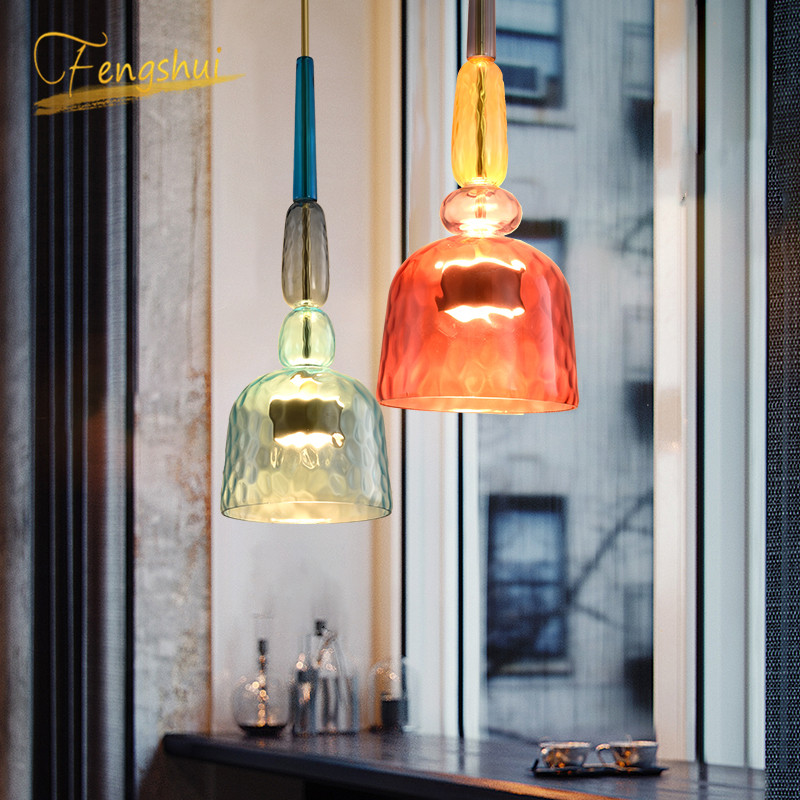 Nordic Color Candy Pendant Lights Modern Living Room Bedroom Children Room Glass Hanging Lamps Decor Pendant Lamp Light Fixtures