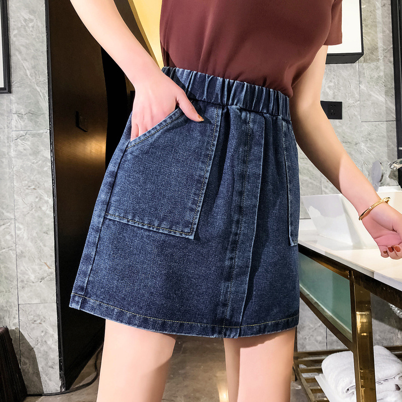 Denim Skirt High-waisted 2019 New Style Large Size Dress 200 Of Fat Mm Students Korean-style Short Skirt