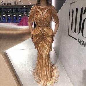 Image 4 - Prata tassel beading sereia sexy vestidos de noite 2020 meia mangas luxo sexy formal vestido foto real sereno colina dla70342