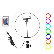 16 צבעים RGB LED טבעת אור 10.2 אינץ עם טלפון Stand עבור איפור YouTube לחיות זרם צילום Selfie Dimmable קשת מנורה