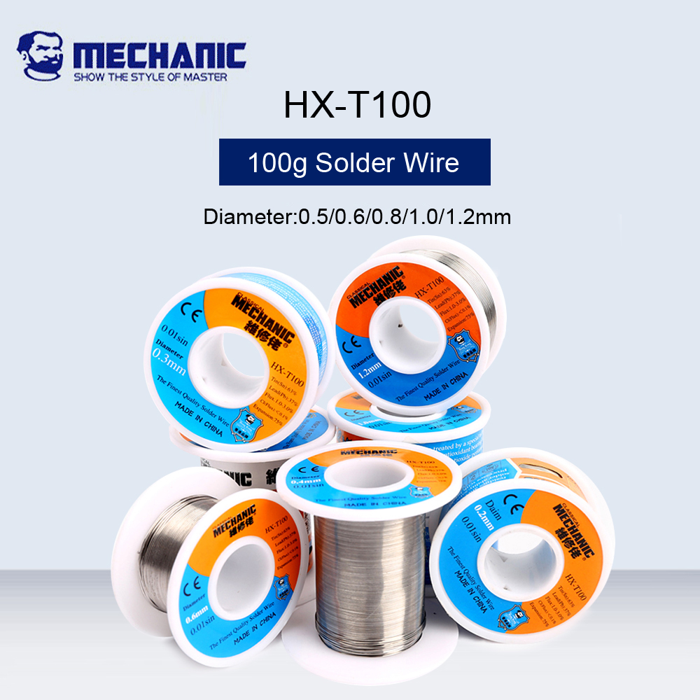 MECHANIC 100g High Purity Low Melting Point Solder Wire Sn63%pb37% 0.5/0.6/0.8/1.0/1.2mm BGA Welding Solder Silk Flux