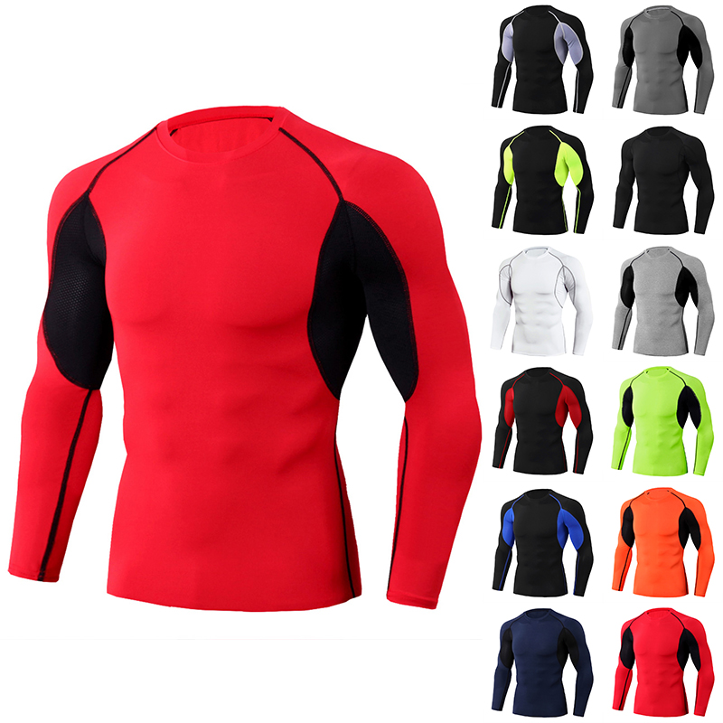 Comfortable Polyester Men Slim Athletic Shirt Cycling Sports Base Layer Tight Fit Tops Stretch Long Sleeve High Elastic Shirt
