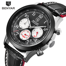 BENYAR Luxury Brand Men Analog Digital Leather Sports Watches Mens Army Military Watch Man Quartz Clock Relogio Masculino