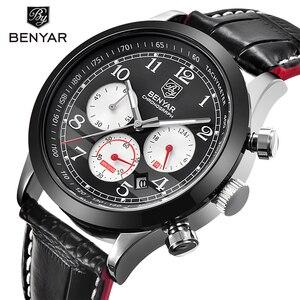 Image 1 - BENYAR Luxury Brand Men Analog Digital Leather Sports Watches Mens Army Military Watch Man Quartz Clock Relogio Masculino