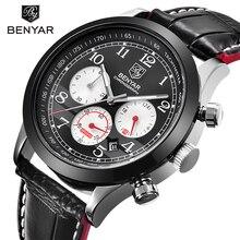BENYAR Роскошные Брендовые мужские Аналоговые Цифровые кожаные спортивные часы, мужские армейские военные часы, мужские кварцевые часы, мужские часы