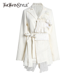 TWOTWINSTYLE Patchwork Ruffle Mesh Blazer Women Notched Collar Long Sleeve High Waist Lace Up Irregular Suit Female Fashion Tide